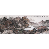 【已售】著名画家蒋元发 小六尺山水《秋山红树》