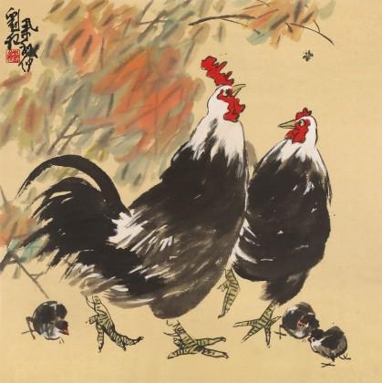 刘纪 四尺斗方《吉祥图》 河南著名老画家