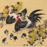 【已售】刘纪 四尺斗方《阖家幸福》 河南著名老画家