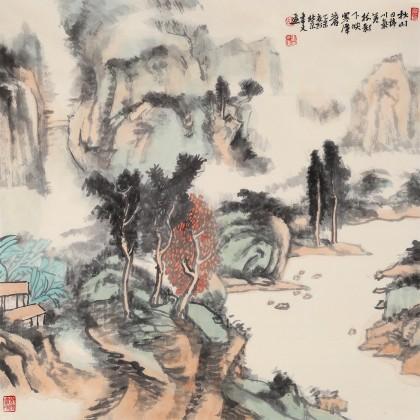 胡书文 四尺斗方《秋山寒潭》中国书画院创作院副院长