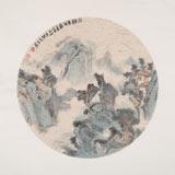 【已售】胡书文 扇面《山静养年图》中国书画院创作院副院长