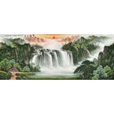 吴东小八尺聚宝盆山水画《宝地生金》