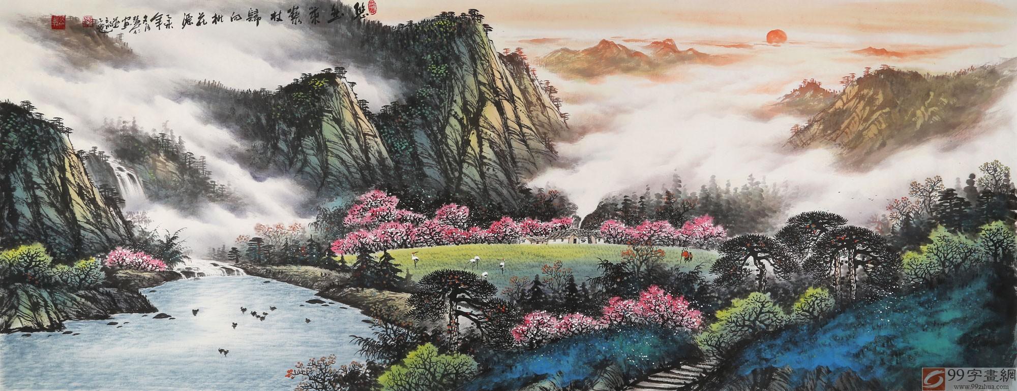 【已售】张慧仁小六尺桂林山水画《悠然策藜杖 归向桃花源》