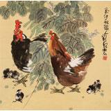 刘纪四尺斗方花鸟画《大吉图》