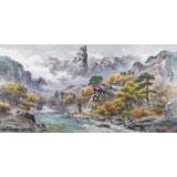 朝鲜画家金善国 四尺《妙香山的溪谷》