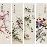 北京美协凌雪 四条屏花鸟画《梅兰竹菊》