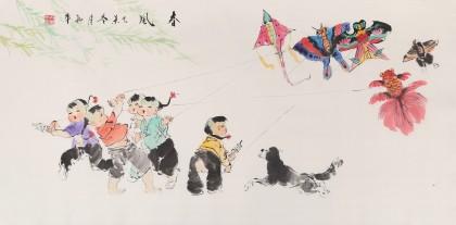 当代乡土童趣绘画名家尹和平 四尺《春风》