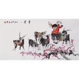 【已售】当代乡土童趣绘画名家尹和平 四尺《青青草》
