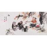 当代乡土童趣绘画名家尹和平 四尺《融》
