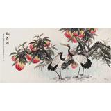 中国老子书画院副院长 朱祖义四尺《鹤寿图》