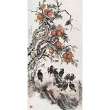【已售】中国老子书画院副院长 朱祖义四尺《喜乐多福》已裱轴