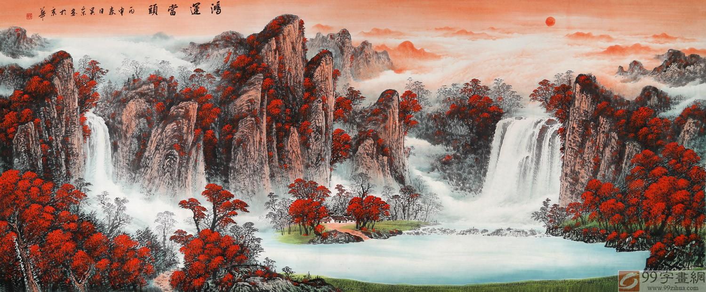 【已售】吴东小八尺聚宝盆山水画《鸿运当头》图片