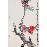 刘纪 四尺三开《春尽始开花》 河南著名老画家图片