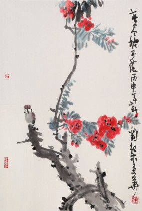 刘纪四尺三开花鸟画《春尽始开花》