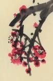 刘纪 四尺三开《梅雀图》 河南著名老画家