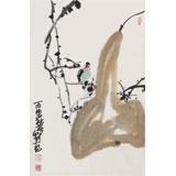 刘纪 四尺三开《福禄图》 河南著名老画家