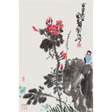 刘纪 四尺三开《一支红》 河南著名老画家