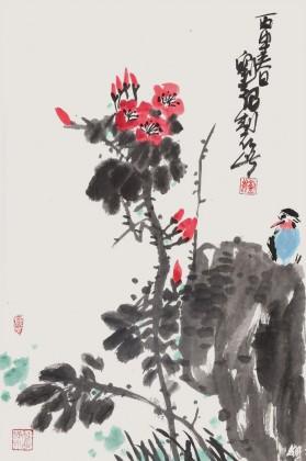 刘纪 四尺三开《一枝红艳露凝香》 河南著名老画家
