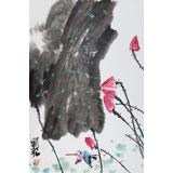 刘纪 四尺三开《春日》 河南著名老画家