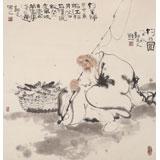 【已售】郭廷 四尺斗方《钓翁图》 当代独具特色的水墨人物名家