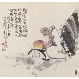 郭廷 四尺斗方《人间长寿仙》 当代独具特色的水墨人物名家(询价)