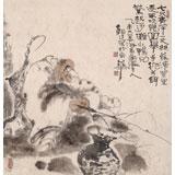 【已售】河北美协郭廷四尺斗方《垂钓图》(询价)