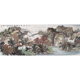 【已售】著名画家蒋元发 小六尺山水《秋山云壑静雅居》