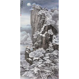 【已售】著名山水画家王连笙 八尺《关东皓月》