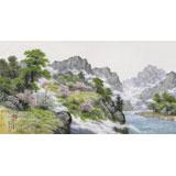 朝鲜名家蔡京华 四尺《花开的山川》