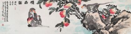 曲逸之 六尺对开《得寿图》 河南省著名花鸟画家