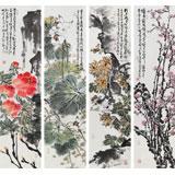 曲逸之  四条屏《春夏秋冬》 中国美术学院著名花鸟画家