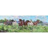 朝鲜画家周成小八尺国画《骏马奔腾》