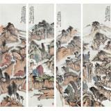 中国书画院创作院副院长胡书文 四条屏《山水有清音》(询价)