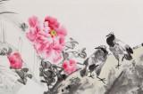 【已售】江苏赣榆美协副主席 王其志六尺对开《和平富贵图》