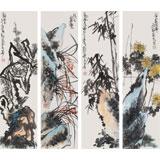 刘纪 四条屏《梅兰竹菊》 河南著名老画家