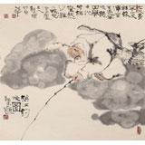 郭廷 四尺斗方《秋江钓晚图》 当代独具特色的水墨人物名家