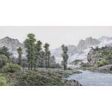 朝鲜画家蔡京华 四尺《小溪的清晨》