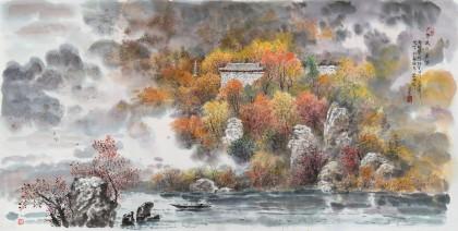 朝鲜名家成日 四尺《北壁楼之秋》