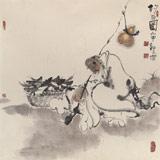 郭廷 四尺斗方《钓翁图》 当代独具特色的水墨人物名家