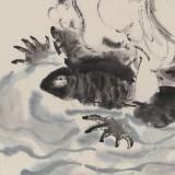 郭廷 四尺斗方《嗟神龟之奇物 体乾坤之自然》 当代独具特色的水墨人物名家