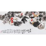 河南美协王向阳 四尺《九鸡卧雪图》(询价)