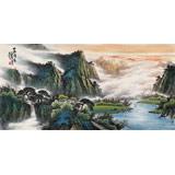 【已售】张慧仁四尺山水画《山高泽长》