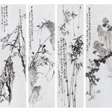 【已售】庾超然 花鸟四条屏 《梅兰竹菊》