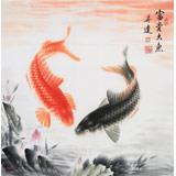 【已售】中国画院周升达 四尺斗方《富贵久鱼》(询价)