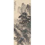 贵州七星关美协主席吴显刚 四尺对开《溪山幽亭图》