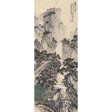 贵州七星关美协主席吴显刚 四尺对开《溪桥松风图》