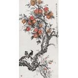 【已售】中国老子书画院副院长 朱祖义四尺《嘉果笑口乐丰年》