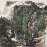 【已售】湖南省著名山水老画家唐圣熙 四尺斗方《侗乡》