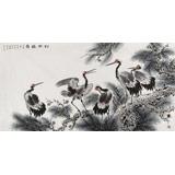 中国老子书画院副院长 朱祖义四尺《松龄鹤寿》
