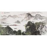 【已售】湖南省著名山水老画家唐圣熙 四尺《江南云绕》